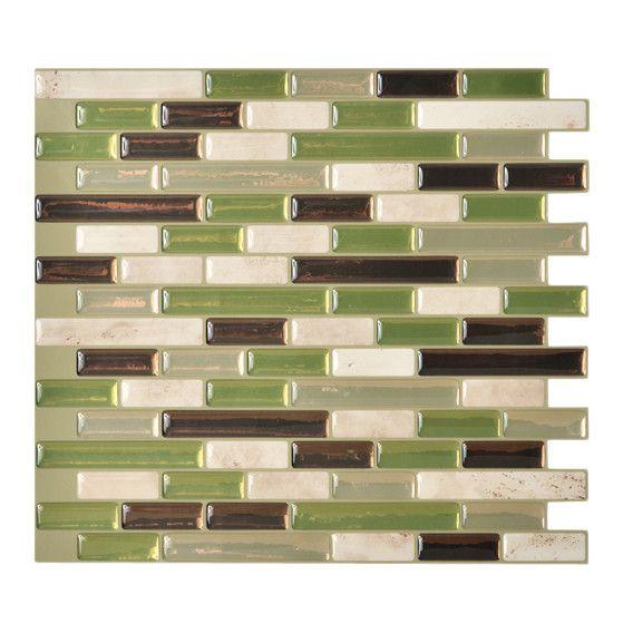 Smart Tiles Mosaik Self Adhesive High-Gloss Mosaic in Green & Gray