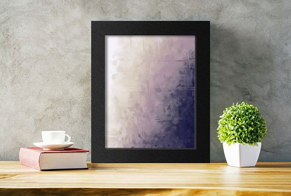Printable Abstract Art in Cream and Eggplant Purple. An affordable way to add art to any space.  Just download, print, and hang!  #abstract #purpleart #etsy