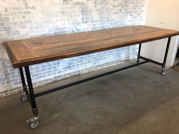 Description Reclaimed Wood Rolling Table Industrial Dining Table