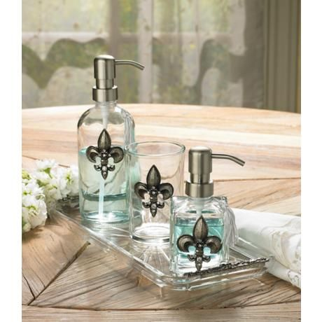 An Exquisite Silver Finish And Jewel Fleur De Lis Embellishment Adorns Each  Piece Of This Beautiful Bathroom Accessory Set.