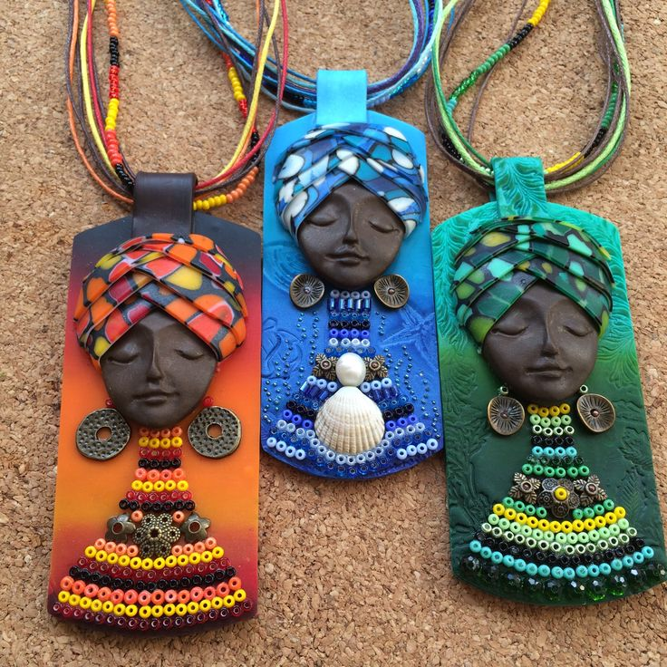 Polymer clay jewelry by eNGi )))  Polymer clay pendant,Gift for her,tribal necklace,boho jewelry,ethnic pendant,Woman gift,Rainbow necklace,African jewelry,goddess jewelry
