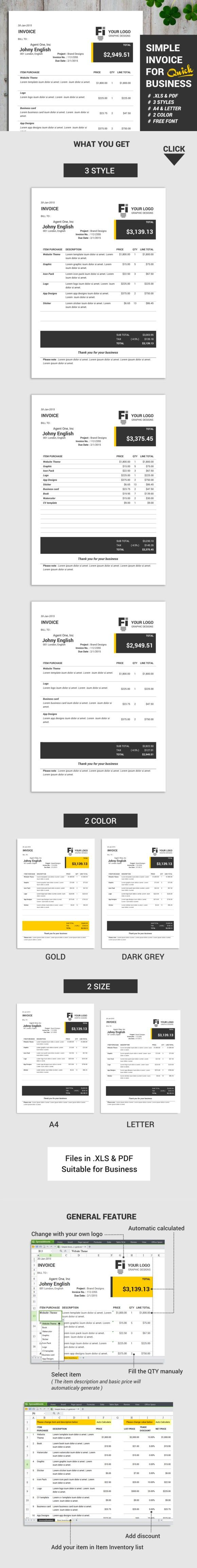 Simple Invoice Automatic Calculate. Stationery Templates