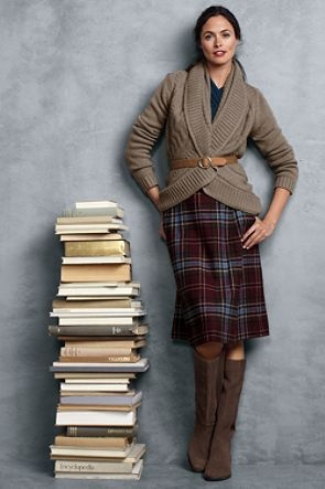 From Land's End. Belted comfy cardigan sweater over plaid skirt with scrunched v-neck top.