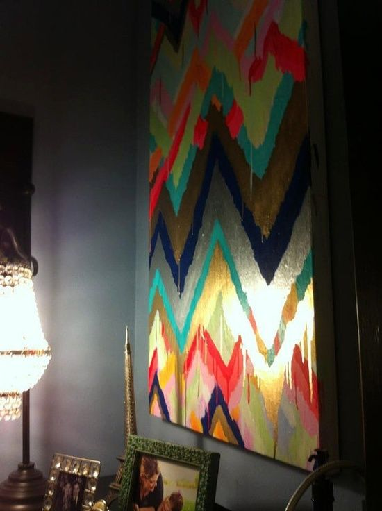 DIY: multicolor dripping chevron wall art.