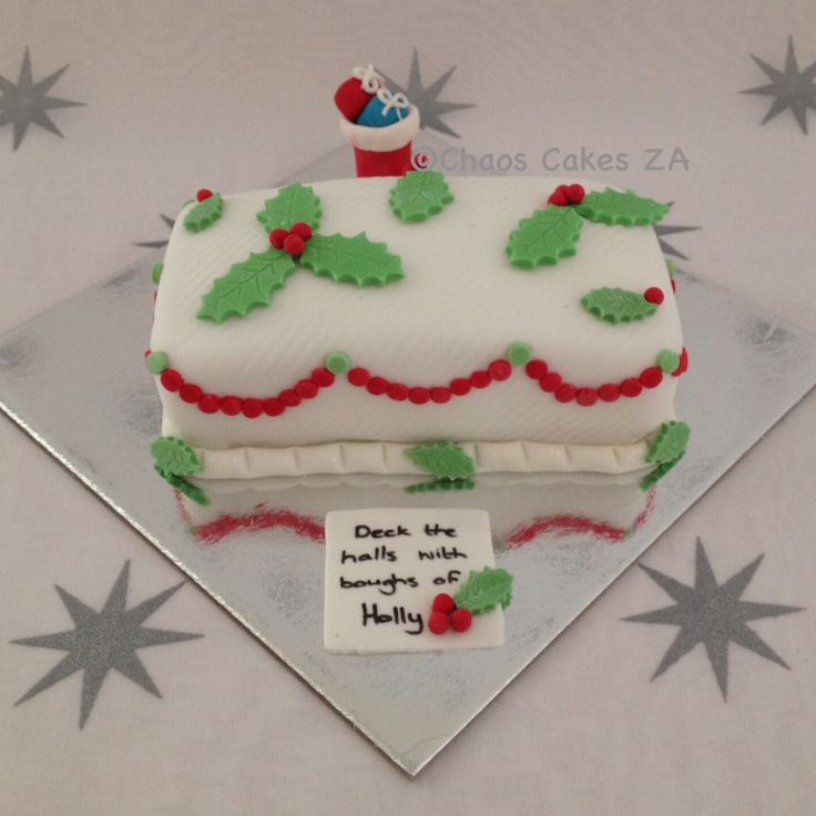 Deck the Halls with white fondant Christmas cake by Chaos Cakes ZA