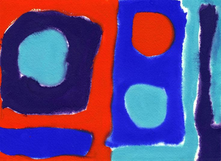 Patrick Heron - Three Discs Scarlet in Blues
