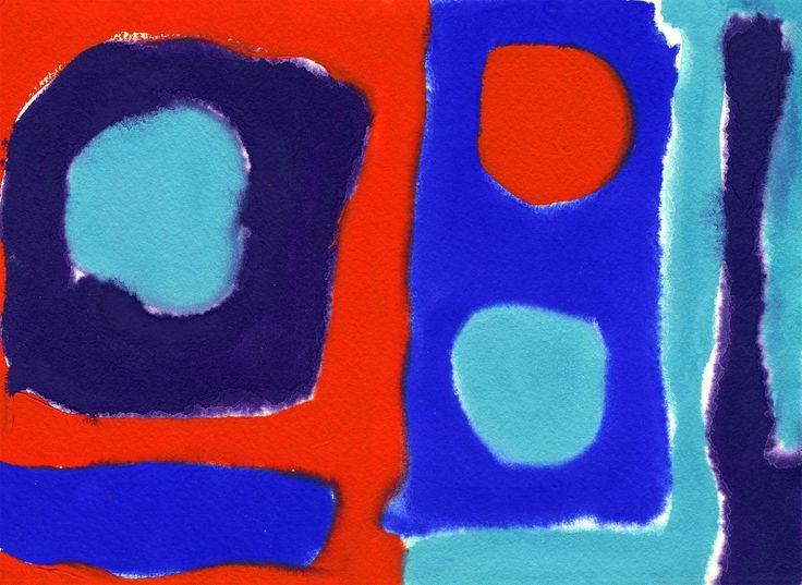 Patrick Heron - Three Discs Scarlet in Blues