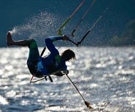 Kiteboarding in the Alberni Inlet. Port Alberni BC, Vancouver Island Canada. Photo by Brenda Widdess