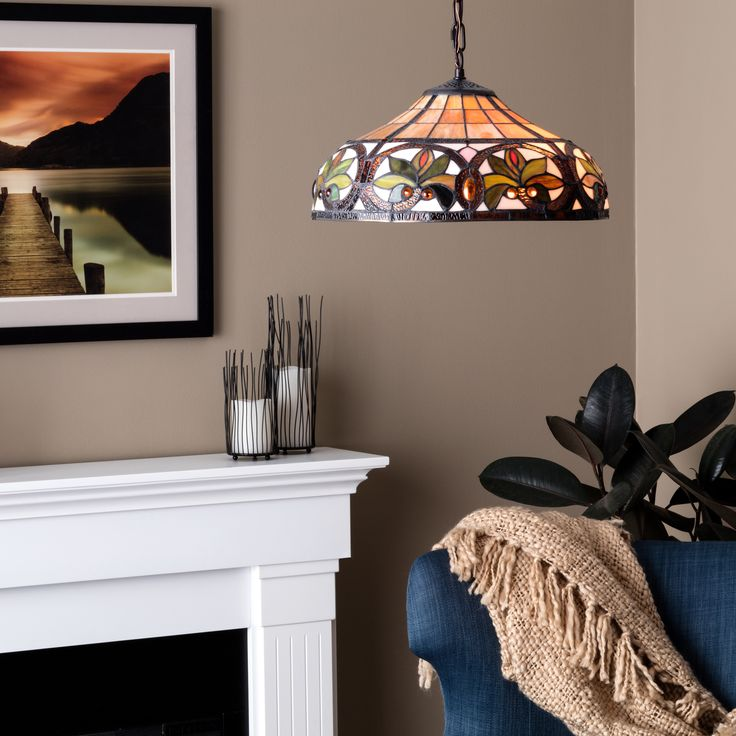 Warehouse of tiffany pendant the classical tiffany style glass shade on this warehouse of tiffany pendant adds graceful color and light to any room