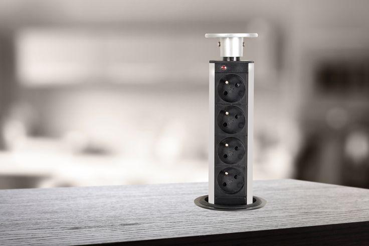 Pop-up stekkerblok. Met behulp van dit stekkerblok kunnen 4 stopcontacten ingebouwd worden in het keuken- of bureaublad. Verzonken in uw werkvlak, volstaat een druk op de stekkerdoos om die gedeeltelijk of helemaal open te schuiven wanneer u een stopcontact nodig hebt. Elegant, praktisch, sterk, discreet, past perfect in uw leefwereld.