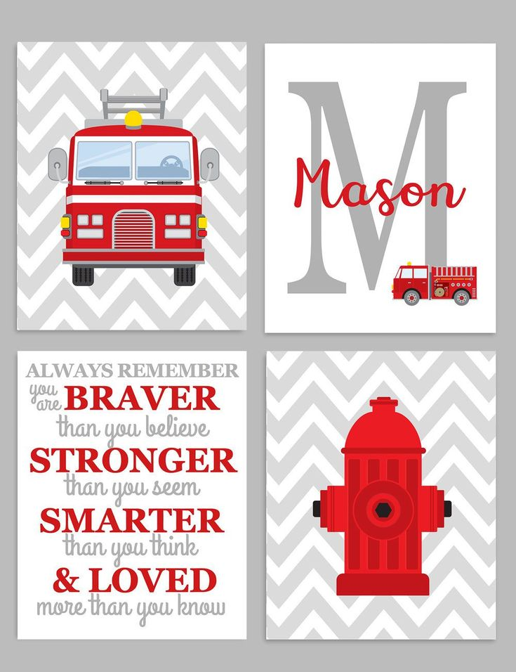 Firefighter Nursery Decor Set of 4 Prints, Monogram Print, Baby Boy Decor, Boy Fireman Prints, Firefighter Canvas Art, Baby Boy Wall Decor