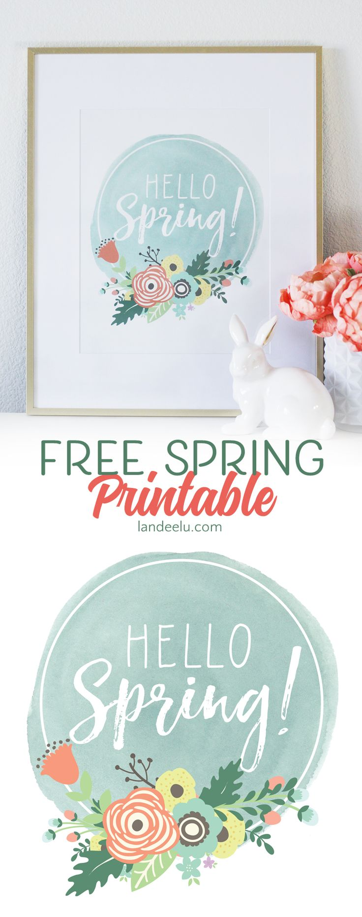 A fresh and pretty free spring printable to say HELLO SPRING! Download, print and put it in a frame for some instant spring decor!
