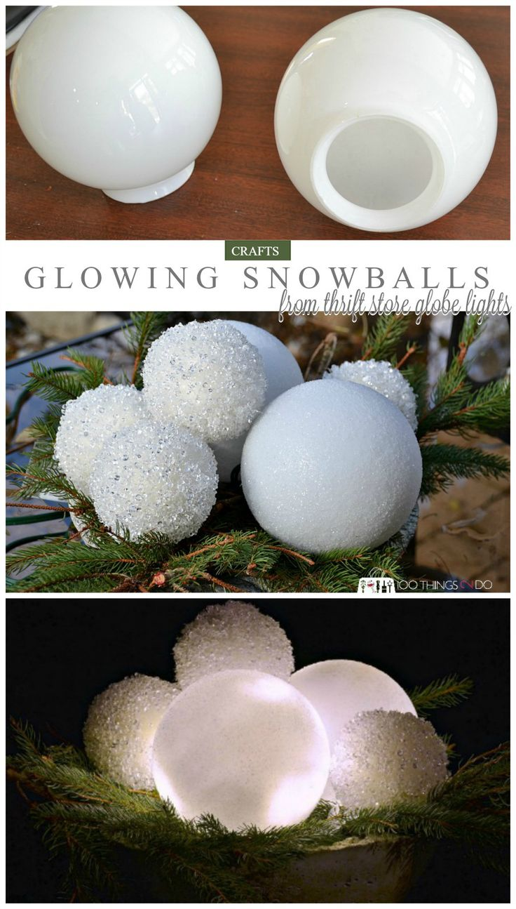 Winter decor - glowing snowballs from thrift store globe lights
