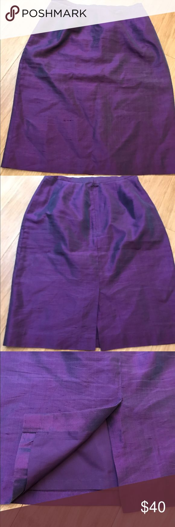 Kay unger  New York pencil skirt Kay unger  New York pencil skirt in shimmering purple. 100% silk. Measurements in picture Kay Unger Skirts Pencil