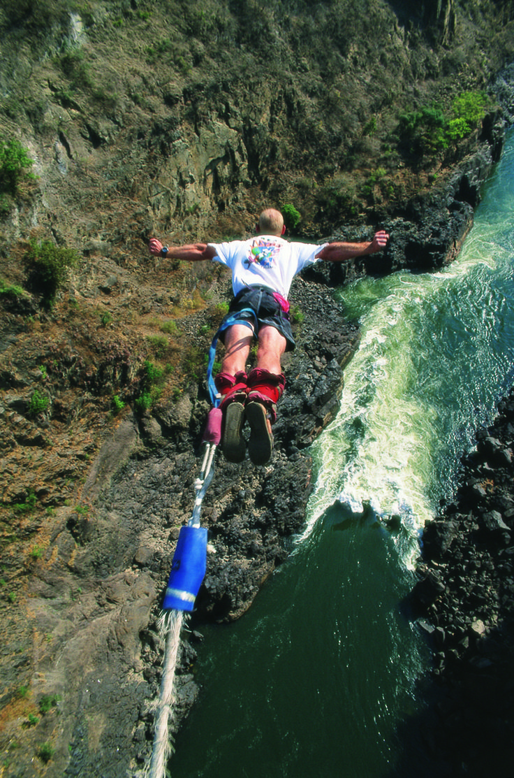 Victoria Falls Bungee Jump.  More Victoria Falls activities here: http://www.go2africa.com/africa-travel-blog/11687/victoria-falls-activities-fly-with-angels-swim-with-the-devil