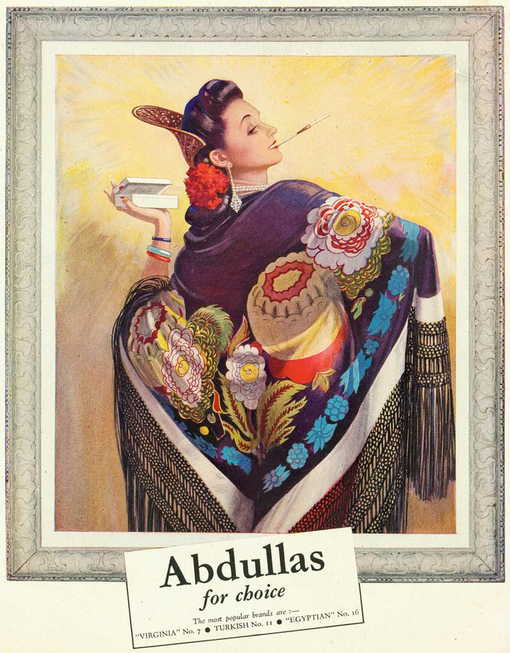 1945 advertisement. Though certainly capitalizing on the Eastern allure of their name and the popular Turkish and Egyptian cigarette trend, Abdulla cigarettes were available in Egyptian, Turkish, or Virginian blends. They were first produced in London in 1902 by Abdulla & Co., Ltd.. The company was later quietly taken over by Godfrey Phillips in 1927, which was subsequently purchased by Philip Morris International in 1968