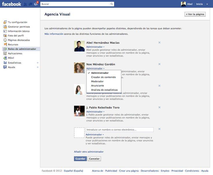 Los nuevos 5 tipos de administrador de las FanPage de Facebook:  Internet Site, New,  Website, Web Site