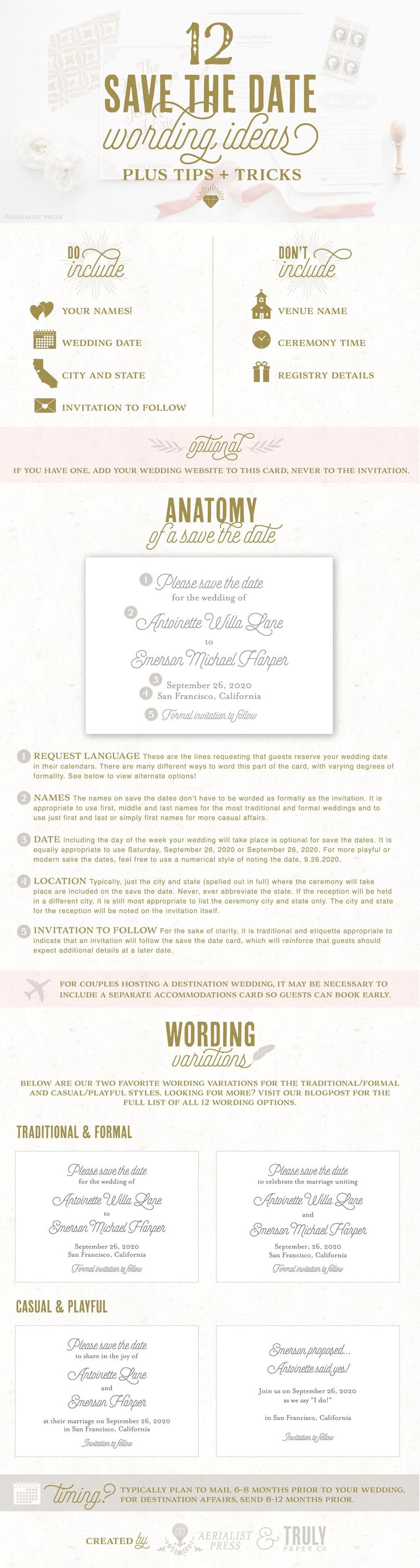 The Best Save the Date Wording Ideas & Sending Guide, plus 15% off Save the Dates from Aerialist Press!    ᘡղbᘠ