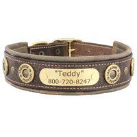 Hornaday Artisan Padded Leather Dog Collar with Nameplate