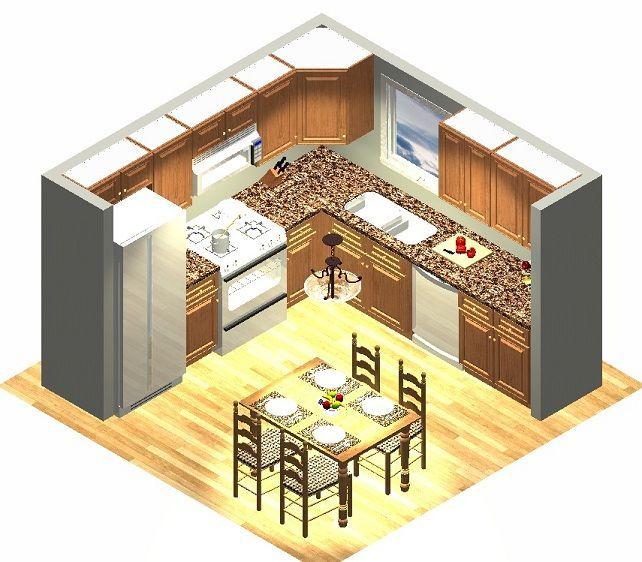 Island U Kitchen Plan Floor Shaped