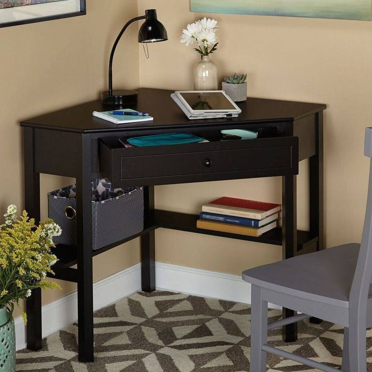 small corner desk for home office writing computer kids student drawer wood new