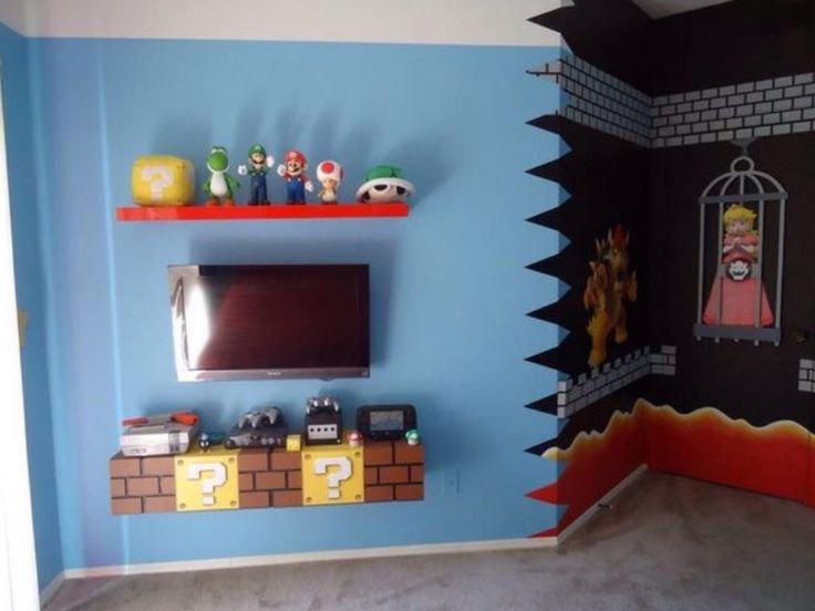 Super Mario brick TV shelf for kids bedroom. Designed by Build A Room.