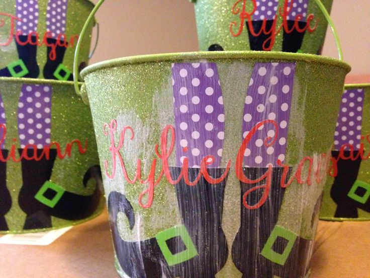 Silhouette School: 15 Minute Customized Halloween Buckets (On The Cheap)  Use gloss mod podge over top of vinyl on glitter buckets to ensure edges were sealed down.