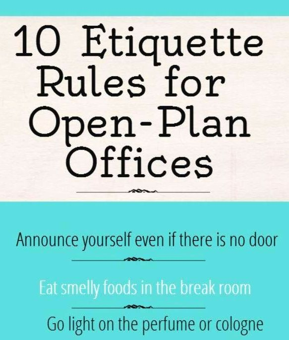 Ettiquette rules for openplan offices via www.Facebook