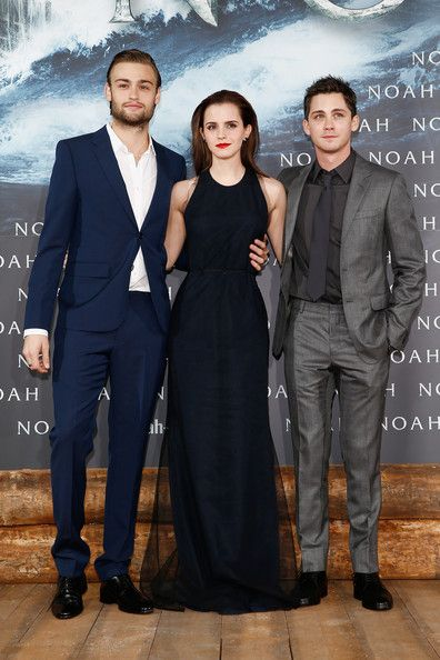 Emma Watson (L-R) Douglas Booth, Emma Watson and Logan Lerman attend the premiere of Paramount Pictures' 'NOAH' at Zoo Palast on March 13, 2014 in Berlin, Germany.