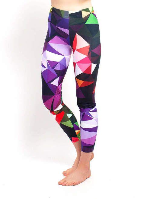 Geometric print yoga leggings in purple, black, red, orange and green