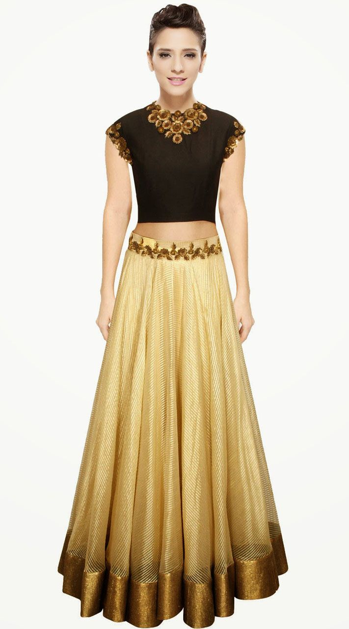 Pretty Golden Cream Cotton Silk Designer Crop Top Lehenga