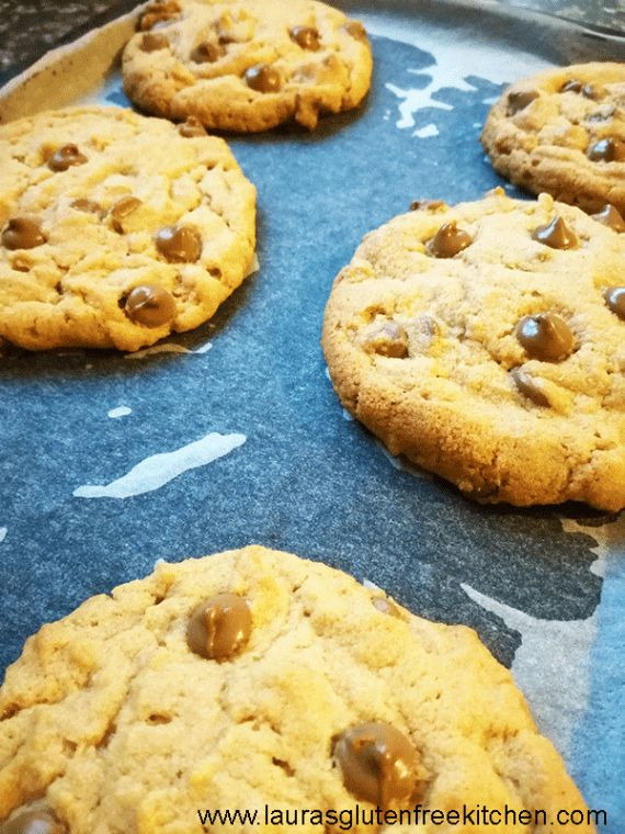 Gluten Free Chocolate Chip Peanut Butter Cookies --- Nothing quite hits the spot like these warm from the oven Gluten Free Chocolate Chip peanut butter cookies oozing with chocolate chips.