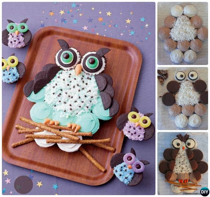 DIY Pull Apart Owl Cupcake Cake-20 Gorgeous Pull Apart Cupcake Cake Designs For Any Party