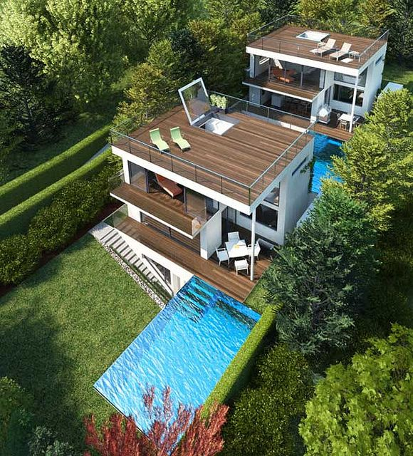 Modern 2 story roof deck home rooftop deck balcony for 3 story house plans with roof deck