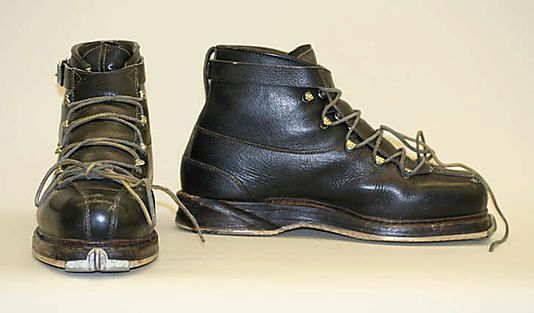 "Ski Boots: 1950-1969, Swiss, leather, metal, plastic.    Marking: [label] ""Ges. Geschuzt"" [stamped in metal]"