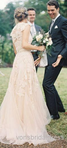 Deep V Cap Sleeves Pink Lace Applique Tulle Sheer Wedding Dresses 2014 Cheap Vintage A Line Reem Acra Latest Blush Wedding Bridal Dress Gown $196.60