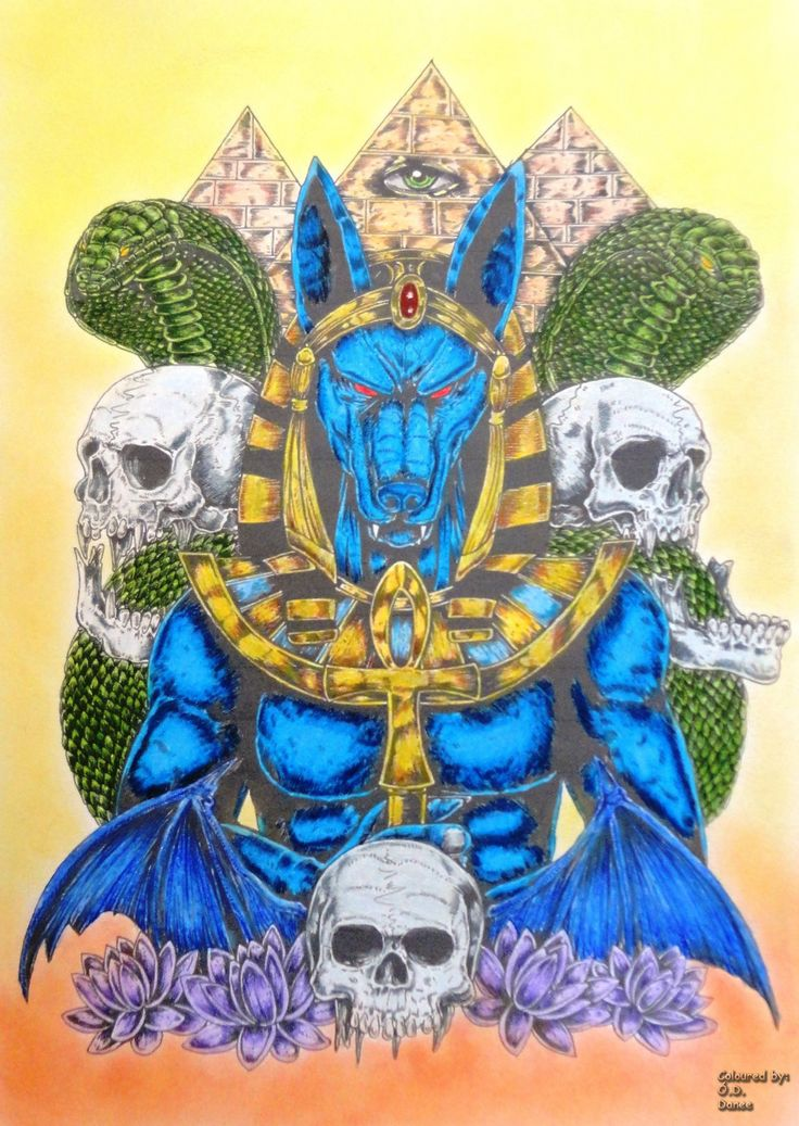 Anubis Tattoo Sketch Coloured with Prismacolor