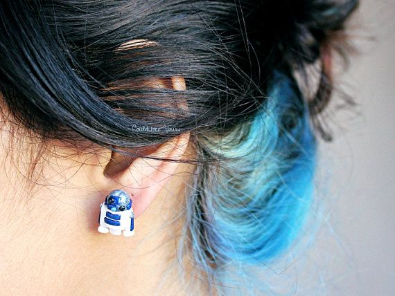 R2D2 Droid Star Wars Earrings by CouldBeeYours on Etsy, $18.50