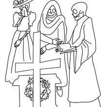 Mexican day of death scene coloring page - Coloring page - HOLIDAY coloring pages - MEXICAN DAY OF THE DEAD coloring pages