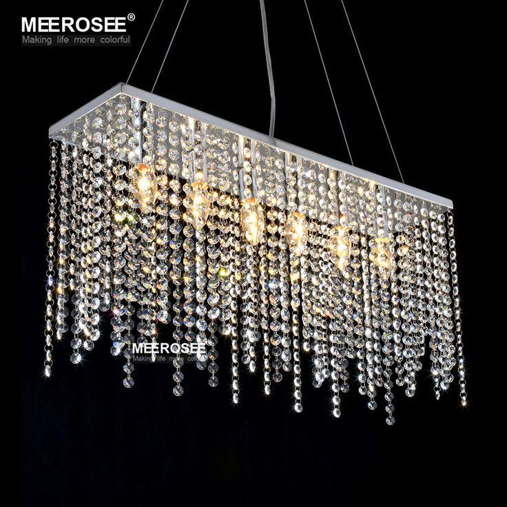 Crystal Pendant Light Fixture Rectangle Crystal Light for Restaurant Modern Hanging Suspension Lustres Drop Lamp Home #Affiliate