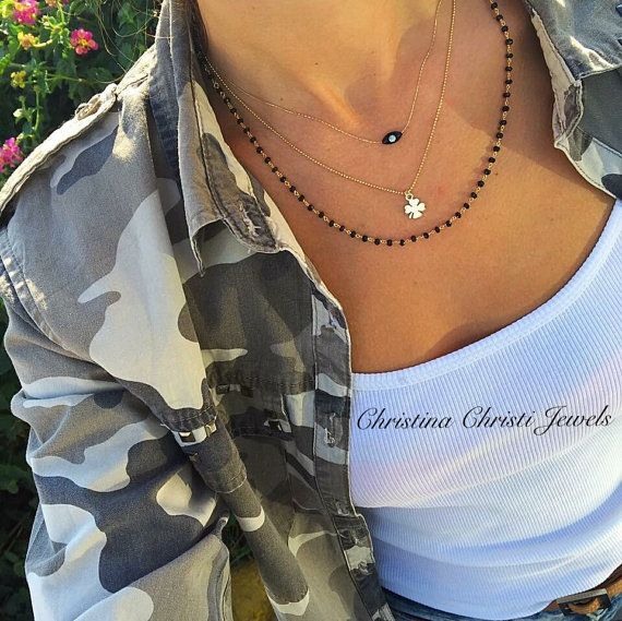 Black Rosary Necklace Women's Necklace by ChristinaChristiJls