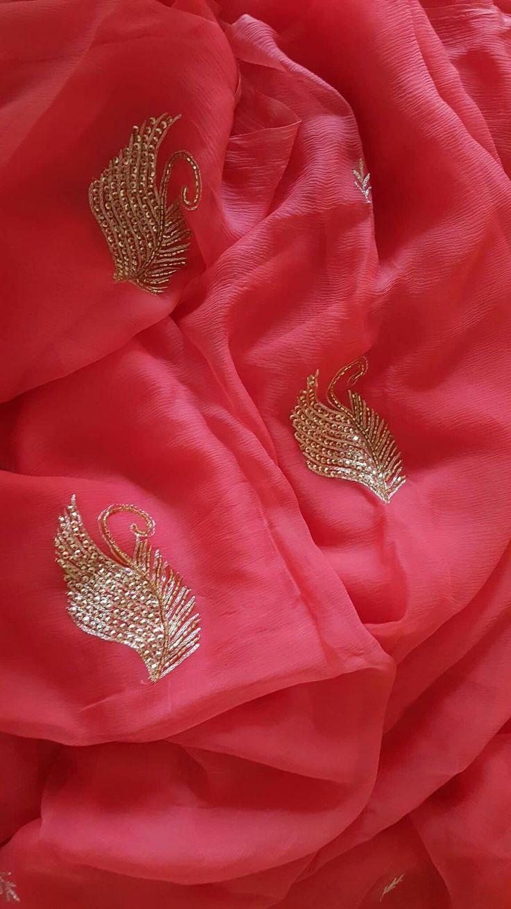 Pure chiffon..hand embroidery...soft nd elegant