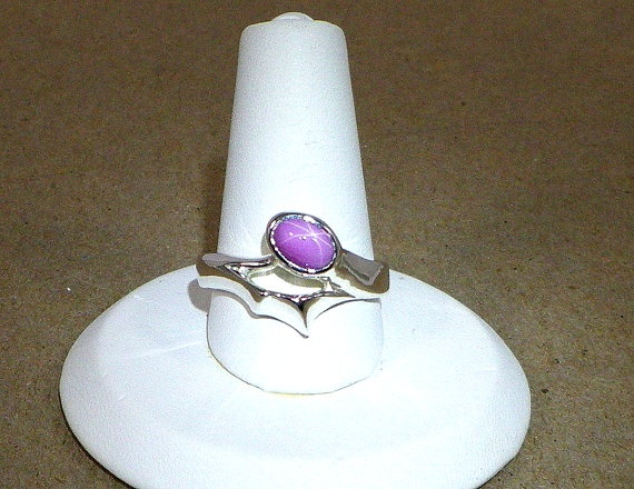 Pink 6 Ray Star Sapphire Sterling Silver Edgy Looking Ring - Soft Color paired with a Sharp Look, $100.00