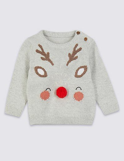 654065261dc6 Jersey con pompón de ciervos   Marks & Spencer London Novelty Christmas  Jumpers, Xmas Jumpers