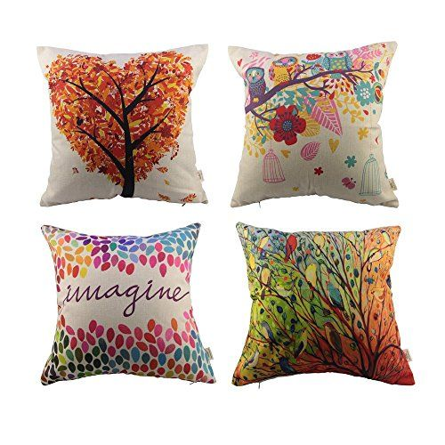 Package included:4 pillowcases, size:approx 17.3x17.3 inch Made of durable cotton linen cloth material. The pattern is only on the front side, Insert are not included (NO Pillow)