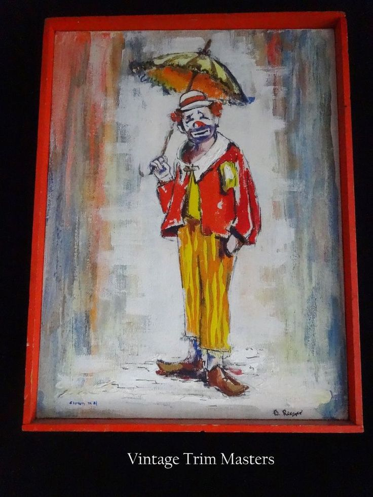 Original Clown #4 Painting Barbara Rieger #Americana
