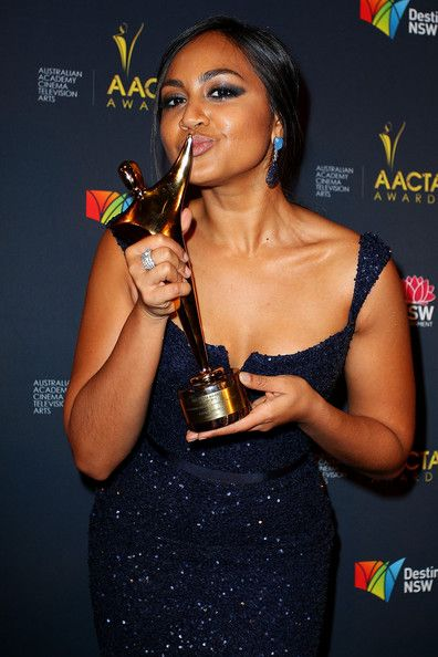 Jessica Mauboy Photos Photos - Jessica Mauboy celebrates her award for Best Supporting Actress in 'The Sapphires' at the 2nd Annual AACTA Awards at The Star on January 30, 2013 in Sydney, Australia. - 2nd Annual AACTA Awards - Arrivals & Awards Room