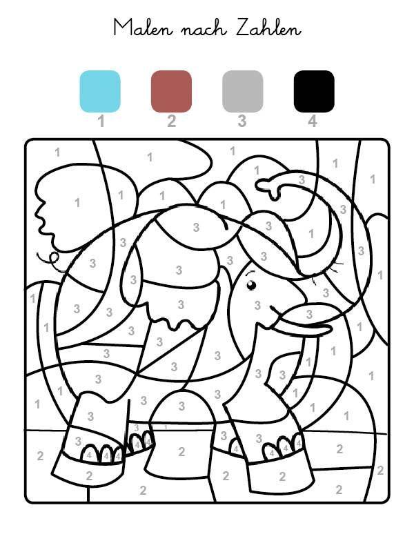 Die Felder Mit Der Zahl 1 Werden Hellblau Felder Mit Der Zahl 2 Braun Die Mit Der Zahl 3 Grau Und Alle Mi Malen Nach Zahlen Malen Nach Zahlen Kinder Ausmalen
