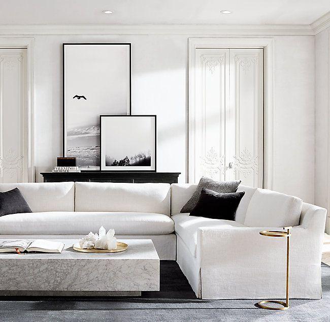 Table Basse Plinthe En Marbre In 2020 White Living Room Decor Black Living Room Minimalist Living Room Furniture