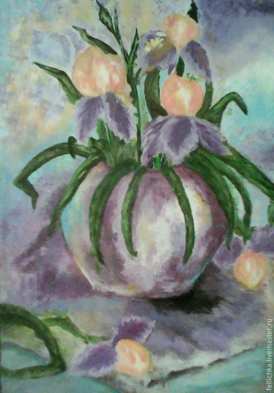 Купить Орхидеи - фиолетовый, орхидеи в ювелирной эмали, картина для кухни, картина цветов, акриловые краски